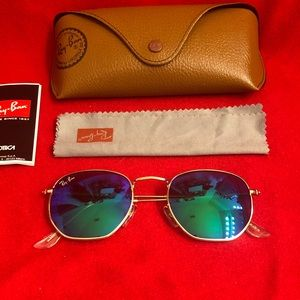 Ray-Ban Hexagonal Green Unisex Sunglasses
